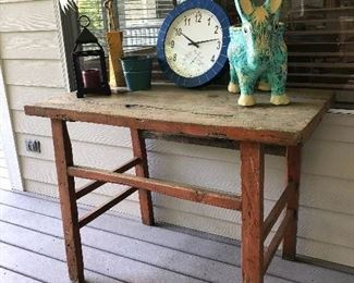 Cute reproduction table, with donkey planter and more
