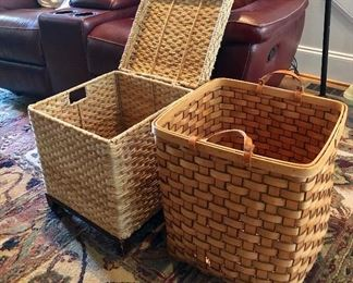 Nice storage basket  on wheels and cane basket with leather handles
