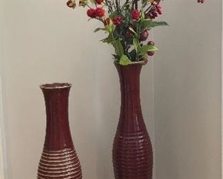 Tall pottery vases