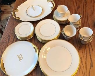 "Lenox ""Eternal"" place setting for 10, plus large matching platter. Monogrammed ""R"" gold rim china"
