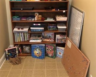Wood book shelf games, books and more