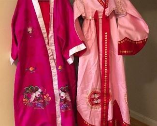 Pink Korean robe with hand embroidered crane motif   Korean dress-hanbok (traditional national costume of Korea)