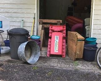 "Trash can, rain barrel, sled, colored pots,  saw-horses, Huff ""Blue Ridge"" index shifting bike and more!"