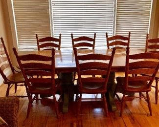 The Keystone Collection, custom made by local craftsman. Oak table with 8 matching chairs