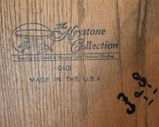 The Keystone Collection, custom made by local craftsman, signed by the craftsman. USA