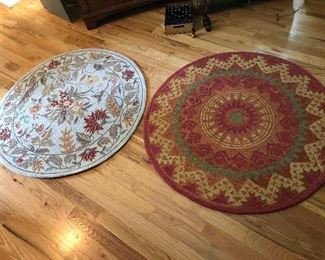 ~Round leaf print rug made by Safavieh from Chelsea collection        4' x 4'    100% wool pile          ~Round rust rug  'Dazzle Round'    Hand Hooked   100% wool pile       Made in India