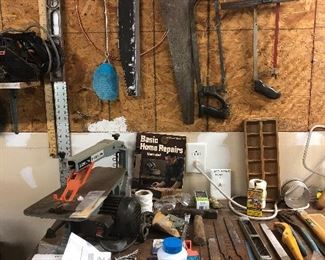 Delta 15 inch scroll saw, hand saws, other tools etc.