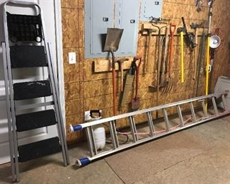 Ladders, yard tools, skil trimmer, hole digger etc, etc!