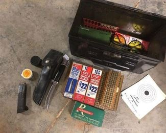 Buck knife, ammo and metal chest...