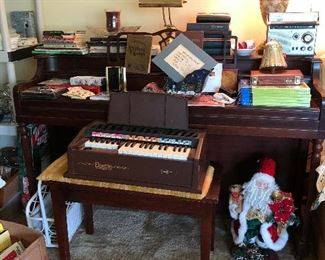 piano, and vintage child's organ