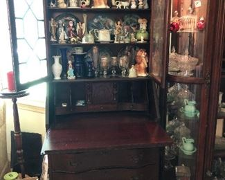 Beautiful secretary filled with great vintage items!