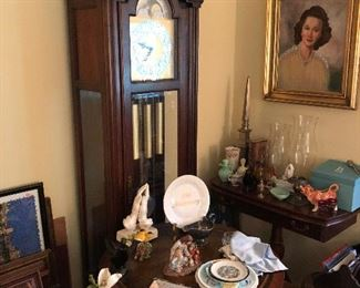 Howard Miller grandfather clock, drum table and more!