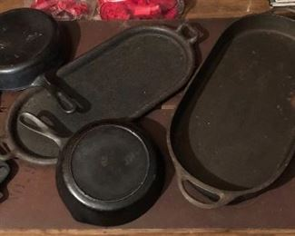 Cast iron skillets, pans... there are more pieces of cast iron in the barn! Wapak, Griswold, Wagner Ware