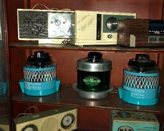 Great collection of  vintage radios and glass vaporizers