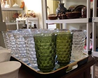 LARGE selection of vintage Forstoria American Footed Ice Tea Glasses/Goblets; in Clear, Amber and Green!!  Complete your set or start one of your own! :)