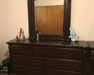 Dresser w/ Mirror and Jesus Figurine