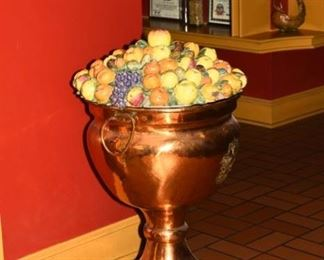 Copper pedestal urn with Italian ceramic fruit top