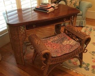 "wicker desk and chair 47"" long, 25"" deep, 30.5"" high"