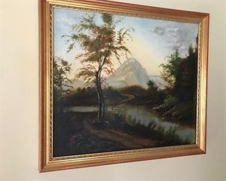 Hudson River School 19th century oil on canvas
