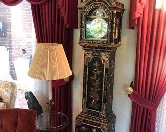 Tempus Fugit Lacquered Chinoiserie Longcase Grandfather Clock - Rare !