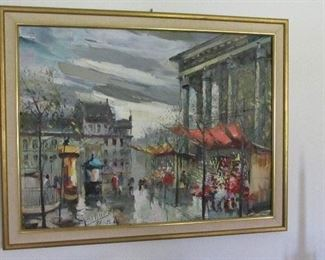 1960s Painting of Paris, signed