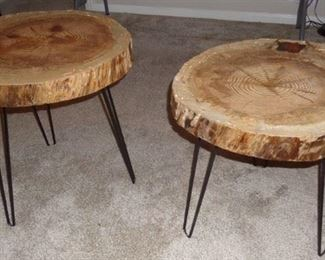 solid log end tables w/ metal legs