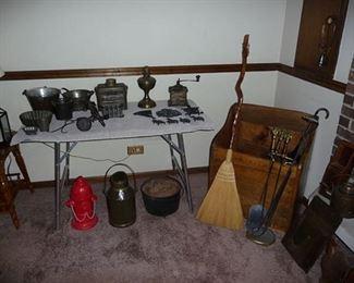 Wood box & tin items