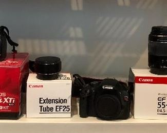 Canon EOS Rebel XTi camera,   Canon Extension Tube EF25 lens, Canon EOS Rebel T21 camera,   Canon EF 55-200mm lens Ultrasonic, Canon Lens Hood EW-83H, LIEQI LQ-027 super wide lens