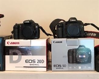 Canon EOS-1 DS Mark III camera,     Canon EOS 20D Digital camera, Canon EOS 5D Digital camera,  Canon EOS 5D Mark II camera
