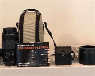 Sony CD Mavica 3.3 megapixel camera, Canon EF70-300mm Image Stabilizer Ultrasonic lens w/ case,  2 lenses w/case Merkury Optics 62 MMFD,  Canon PowerShot A2400 IS camera