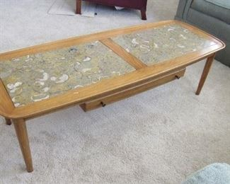 Mid-century modern blonde wood coffee table with marble insets and drawer
