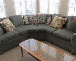 Fun unique corner sofa - great neutral upholstery - comes with the 4 accent pillows seen at the end arms - also in 2 pieces so it is easy to transport