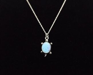 .925 Sterling Silver Opal Cabochon Turtle Necklace Pendant