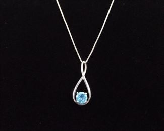 .925 Sterling Silver Faceted Topaz Necklace Pendant