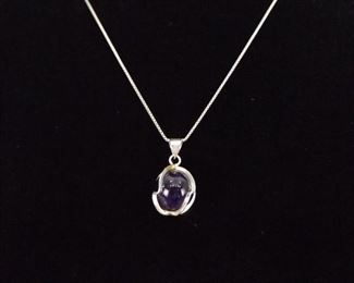 .925 Sterling Silver Amethyst Ball Necklace Pendant