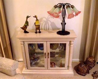 Small Curio Cabinet & Lamp