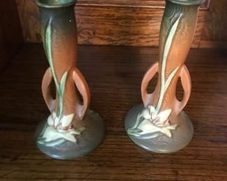 Roseville candlestick holders