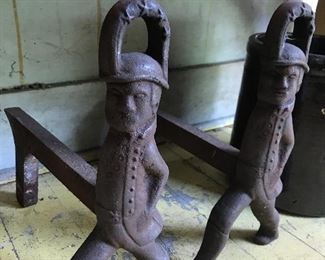 Cast iron Hessian soldier Andirons