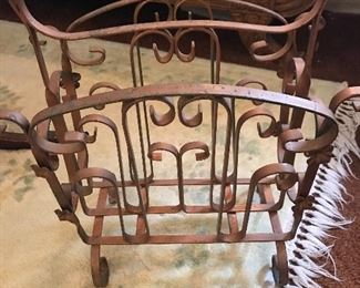 Antique metal magazine rack