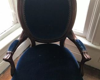 Antique mahogany parlor chair, original fabric