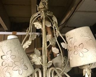 Pinched tin lamp.  Shabby chic
