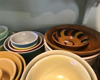 Antique stoneware and vintage Pyrex