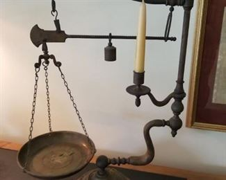 Vintage Italian Chapman Brass Balance Scale & Candle Holder