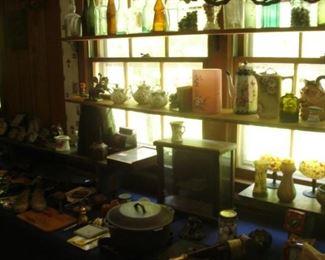 small showcase , art glass