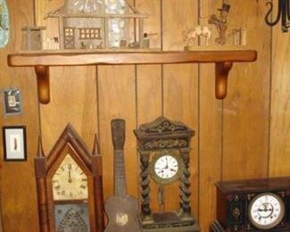 mantle clocks, local folk art, Mele ukulele