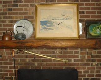 Cadet sword, early tea kettles, mid cent, alum.