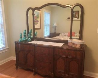 Antique mahogany dresser with mirror