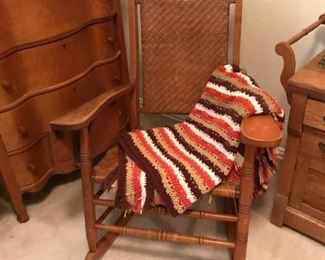 Oak Rocker with lift up tray , hand made afghan