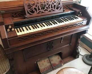 Jubilee Pump/Reed Organ from the New Haven Melodeon Co,  They produced organs from 1881 to 1883 making making this piece about 125 years. Still plays but needs restoration.