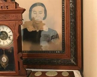 Two Antique Portraits, great grandmother and grand father of the home owner who is 86, these portraits date back to the civil war period.